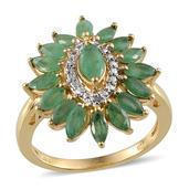 Kagem Zambian Emerald, Diamond 14K YG Over Sterling Silver Ring (Size 6.0) TDiaWt 0.02 cts, TGW 2.820 cts.