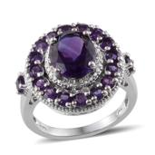 Uruguayan Amethyst, Diamond Platinum Over Sterling Silver Ring (Size 10.0) TDiaWt 0.03 cts, TGW 5.260 cts.