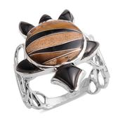 Santa Fe Style Black Onyx, South African Tigers Eye, Picture Jasper Sterling Silver Ring (Size 7.0) TGW 2.830 cts.