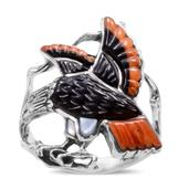 Santa Fe Style Black Onyx, White Mother of Pearl, Spiny Oyster Shell Orange Sterling Silver Ring (Size 8.0) TGW 2.532 cts.
