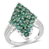 Kagem Zambian Emerald Platinum Over Sterling Silver Ring (Size 7.0) TGW 3.250 cts.