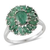 Kagem Zambian Emerald Platinum Over Sterling Silver Ring (Size 8.0) TGW 3.450 cts.