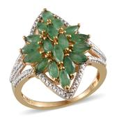 Kagem Zambian Emerald, Diamond 14K YG Over Sterling Silver Ring (Size 6.0) TDiaWt 0.01 cts, TGW 2.760 cts.