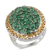 Kagem Zambian Emerald 14K YG and Platinum Over Sterling Silver Ring (Size 7.0) TGW 5.750 cts.