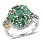 Kagem Zambian Emerald, Diamond 14K YG and Platinum Over Sterling Silver Ring (Size 8.0) TDiaWt 0.02 cts, TGW 3.325 cts.