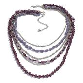 Multi Color Glass Beads Necklace in Silvertone