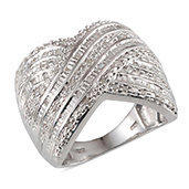 Diamond Platinum Over Sterling Silver Criss Cross Ring (Size 10.0) TDiaWt 0.50 cts, TGW 0.500 cts.