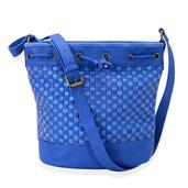 Blue Woven Faux Leather Crossbody Bucket Bag (10x6x11 in)
