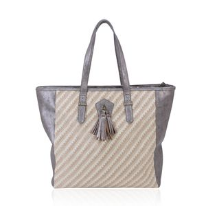 J Francis - Silver Faux Leather Tote Bag (14x4x14 in)