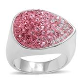 Pink and White Austrian Crystal Stainless Steel Ring (Size 7.0)