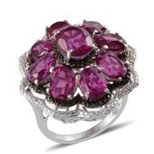 Radiant Orchid Quartz, Black Diamond, Diamond Platinum Over Sterling Silver Ring (Size 8.0) TDiaWt 0.04 cts, TGW 14.900 cts.