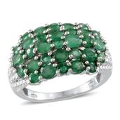 Kagem Zambian Emerald, Diamond Platinum Over Sterling Silver Ring (Size 8.0) TDiaWt 0.01 cts, TGW 3.940 cts.