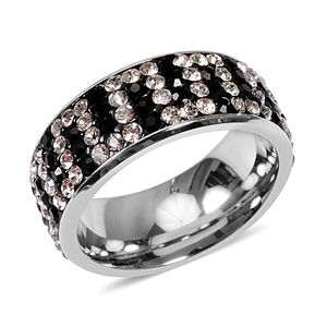 Black and White Austrian Crystal Stainless Steel Ring (Size 6.0)