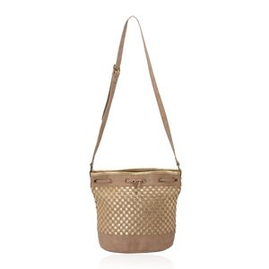 Camel Woven Faux Leather Crossbody Bucket Bag (10x6x11 in)