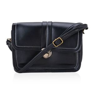 Black Faux Leather Crossbody Bag (7x2x5 in)