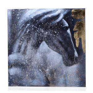 Black, Golden and White Horse Artwork
