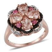 Marropino Morganite, Mahenge Pink Spinel, Black Diamond, Diamond 14K RG Over Sterling Silver Ring (Size 6.0) TDiaWt 0.02 cts, TGW 2.570 cts.