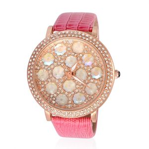 STRADA Austrian Crystal, Japanese Movement Watch with Pink Band and Stainless Steel Back