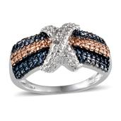 White and Champagne Diamond, Blue Diamond (IR) Platinum Over Sterling Silver Accent Ring (Size 7.0) ,