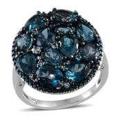 London Blue Topaz, Electric Blue Topaz, Blue Diamond Platinum Over Sterling Silver Ring (Size 9.0) TDiaWt 0.01 cts, TGW 9.110 cts.