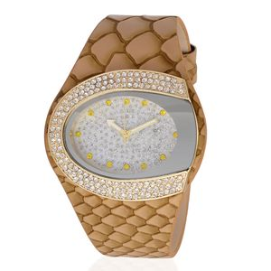 STRADA Austrian Crystal Japanese Movement Watch with Tan Fish Scale Pattern Band and Stainless Steel Back