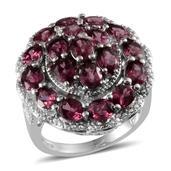 Orissa Rhodolite Garnet, Diamond Platinum Over Sterling Silver Ring (Size 7.0) , TDiaWt 0.01 cts, TGW 8.715 cts.