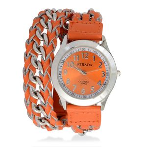 STRADA Japanese Movement Wrap Watch with Orange Band and Stainless Steel Back