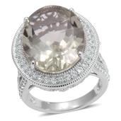 Green Amethyst (Ovl 15.55 Ct), White Topaz Ring in Sterling Silver Nickel Free (Size 10) TGW 19.210 cts.