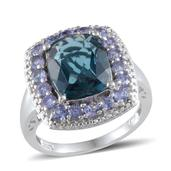 London Blue Topaz, Tanzanite, Diamond Platinum Over Sterling Silver Ring (Size 7.0) TDiaWt 0.01 cts, TGW 7.810 cts.