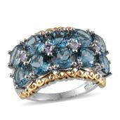 London Blue Topaz, Tanzanite 14K YG and Platinum Over Sterling Silver Ring (Size 8.0) TGW 9.760 cts.