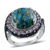 Mojave Blue Turquoise, Tanzanite, Blue Diamond Platinum Over Sterling Silver Ring (Size 7.0) TDiaWt 0.02 cts, TGW 12.050 cts.