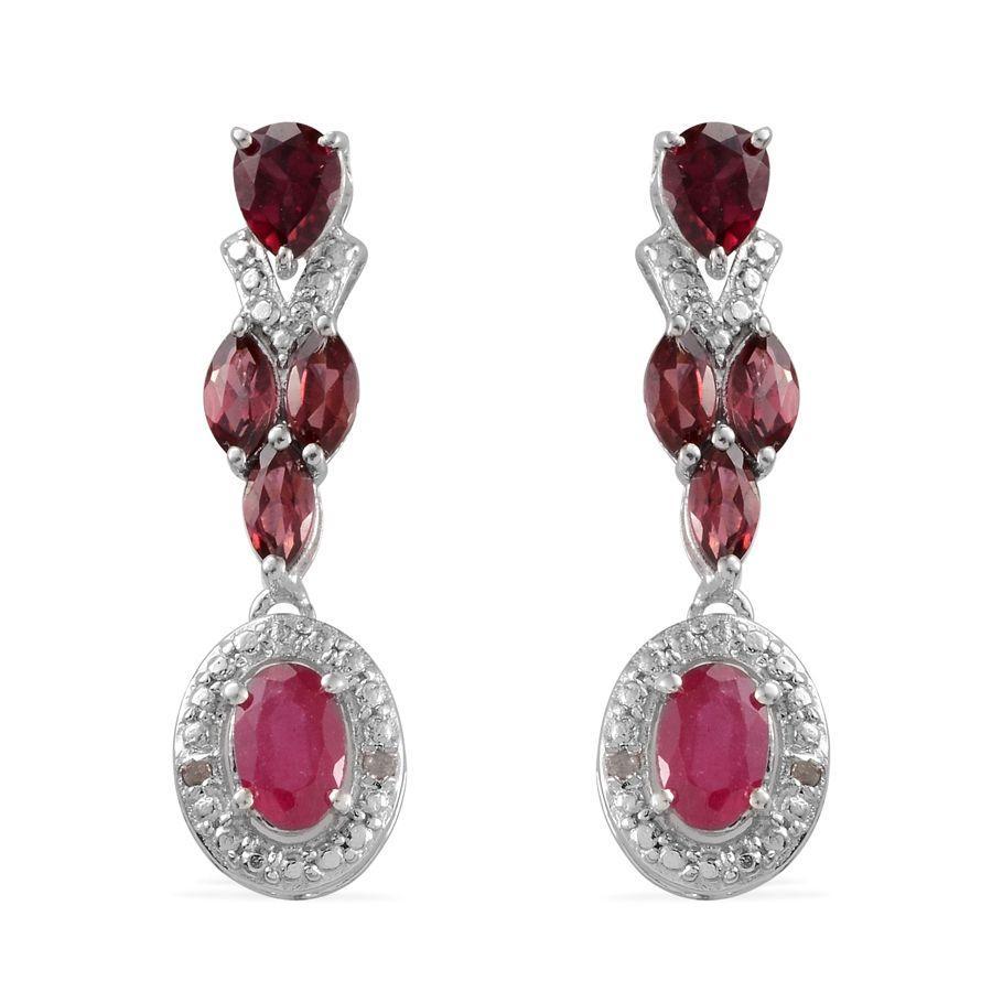 Niassa Ruby, Orissa Rhodolite Garnet, Diamond Platinum Over Sterling Silver Earrings TDiaWt 0.02 cts, TGW 3.500 cts.