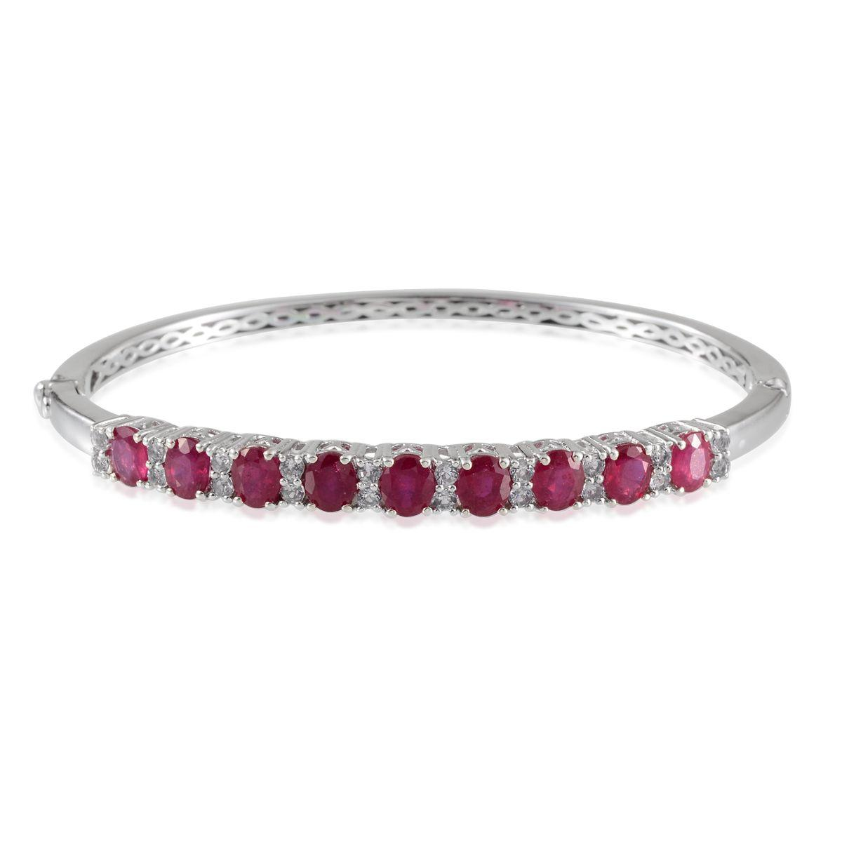 Niassa Ruby, White Topaz Platinum Over Sterling Silver Bangle (7.5 in) TGW 9.97 Cts.