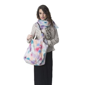 Polka Dot Print 100% Cotton Shoulder Bag (11x13 in) with Matching Scarf