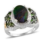 Canadian Ammolite, Russian Diopside, Diamond 14K YG and Platinum Over Sterling Silver Ring (Size 10.0) TDiaWt 0.02 cts, TGW 5.521 cts.