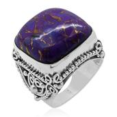Bali Legacy Collection Mojave Purple Turquoise (Cush) Ring in Sterling Silver Nickel Free (Size 8) TGW 17.440 cts.