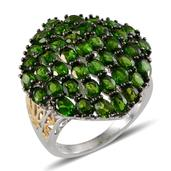 Russian Diopside 14K YG and Platinum Over Sterling Silver Ring (Size 7.0) TGW 8.700 cts.