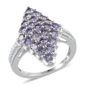 Tanzanite Platinum Over Sterling Silver Ring (Size 9.0) TGW 2.750 cts.