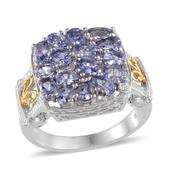 Tanzanite, Diamond 14K YG and Platinum Over Sterling Silver Ring (Size 9.0) TDiaWt 0.01 cts, TGW 3.270 cts.