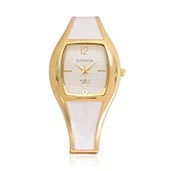 STRADA White Enameled Japanese Movement Bangle Watch in Goldtone with Stainless Steel Back (7.5 in)