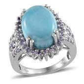 Larimar, Tanzanite Flattering Platinum Over Sterling Silver Ring (Size 7.0) TGW 11.800 cts.