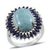 Larimar, Lab Created Blue Sapphire Platinum Over Sterling Silver Ring (Size 9.0) TGW 16.750 cts.