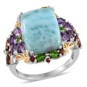 Larimar, Multi Gemstone 14K YG and Platinum Over Sterling Silver Ring (Size 7.0) TGW 16.140 cts.