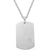 Simulated White Diamond Pendant With Chain (24 in) in Stainless Steel TGW 0.13 cts.