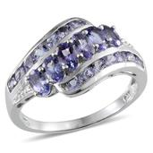 Tanzanite (Ovl) Ring in Platinum Overlay Sterling Silver Nickel Free (Size 9.0) TGW 2.38 Cts.