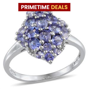 Tanzanite Platinum Over Sterling Silver Ring (Size 8.0) TGW 2.050 cts.
