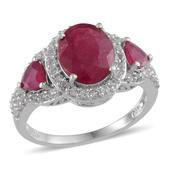 Niassa Ruby, White Topaz Platinum Over Sterling Silver Ring (Size 7.0) TGW 7.500 cts.