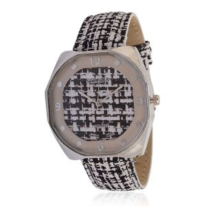 STRADA Japanese Movement Watch with Black Basketweave Band and Stainless Steel Back
