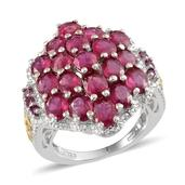 Niassa Ruby, Orissa Rhodolite Garnet 14K YG and Platinum Over Sterling Silver Graceful Cluster Ring (Size 8.0) TGW 8.450 cts.