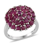 Ruby Platinum Over Sterling Silver Love Cluster Ring (Size 6.0) TGW 4.84 cts.